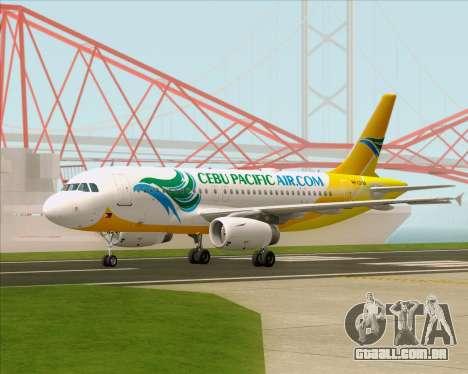 Airbus A319-100 Cebu Pacific Air para GTA San Andreas traseira esquerda vista