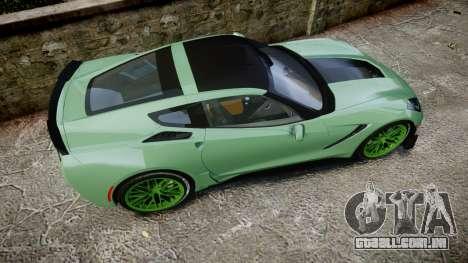 Chevrolet Corvette Z06 2015 TireCon para GTA 4 vista direita