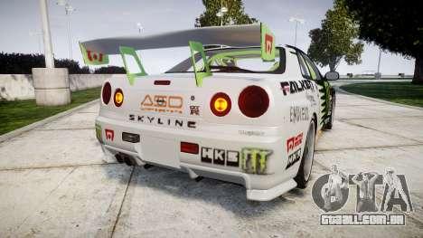 Nissan Skyline R34 GT-R V-Spec [RIV] para GTA 4 traseira esquerda vista