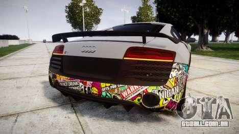 Audi R8 LMX 2015 [EPM] Sticker Bomb para GTA 4 traseira esquerda vista