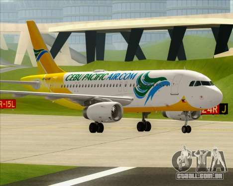 Airbus A319-100 Cebu Pacific Air para GTA San Andreas interior