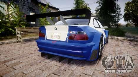 BMW M3 E46 GTR Most Wanted plate NFS Carbon para GTA 4 traseira esquerda vista