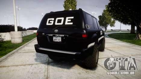 Toyota Land Cruiser 100 GOE [ELS] para GTA 4 traseira esquerda vista