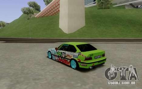 BMW E36 Bridgstone para GTA San Andreas traseira esquerda vista