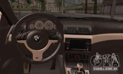 BMW M3 E46 StanceWork para GTA San Andreas traseira esquerda vista