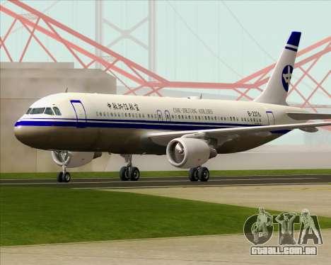Airbus A320-200 CNAC-Zhejiang Airlines para GTA San Andreas vista superior