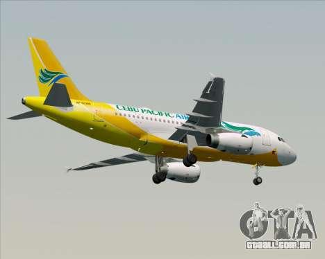Airbus A319-100 Cebu Pacific Air para GTA San Andreas vista inferior