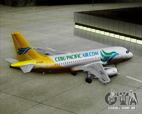 Airbus A319-100 Cebu Pacific Air para as rodas de GTA San Andreas