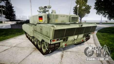 Leopard 2A7 DE Green para GTA 4 traseira esquerda vista