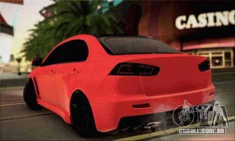 Mitsubishi Lancer Evo X para GTA San Andreas esquerda vista