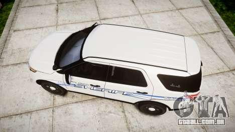 Ford Explorer 2013 [ELS] Liberty County Sheriff para GTA 4 vista direita