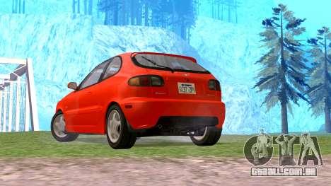 Daewoo Lanos Esporte EUA 2001 para GTA San Andreas esquerda vista