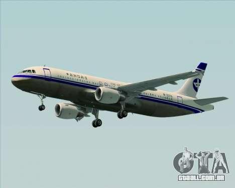 Airbus A320-200 CNAC-Zhejiang Airlines para GTA San Andreas esquerda vista