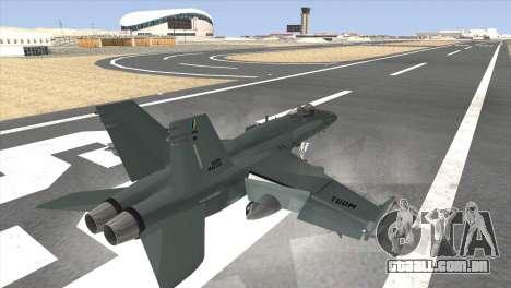 FA-18 Hornet Malaysia Air Force para GTA San Andreas esquerda vista