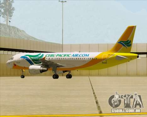 Airbus A320-200 Cebu Pacific Air para as rodas de GTA San Andreas