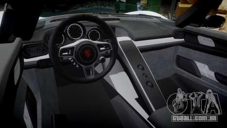 Porsche 918 Spyder 2014 Weissach para GTA 4 vista interior