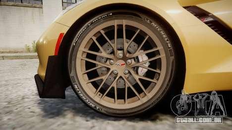 Chevrolet Corvette Z06 2015 TireMi5 para GTA 4 vista de volta
