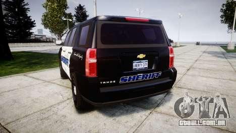 Chevrolet Tahoe 2015 Sheriff [ELS] para GTA 4 traseira esquerda vista