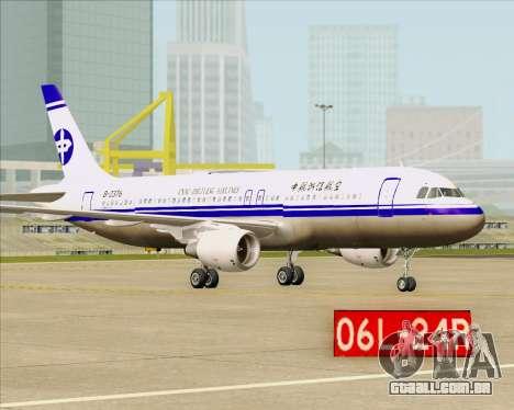 Airbus A320-200 CNAC-Zhejiang Airlines para GTA San Andreas vista traseira