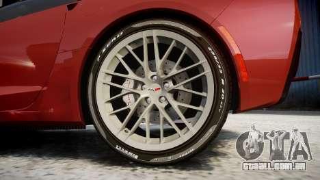 Chevrolet Corvette Z06 2015 TirePi2 para GTA 4 vista de volta