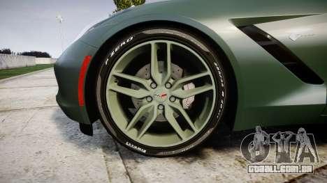 Chevrolet Corvette C7 Stingray 2014 v2.0 TirePi2 para GTA 4 vista de volta