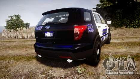 Ford Explorer 2013 Sheriff [ELS] v1.0L para GTA 4 traseira esquerda vista