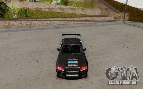 Nissan Skyline GT-R 34 Toyo Tires para GTA San Andreas esquerda vista