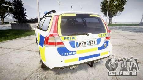 Volvo V70 2014 Swedish Police [ELS] Marked para GTA 4 traseira esquerda vista