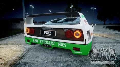 Ferrari F40 1987 [EPM] Jolly Club para GTA 4 traseira esquerda vista