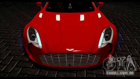 Aston Martin One-77 Black Beige para GTA San Andreas vista direita