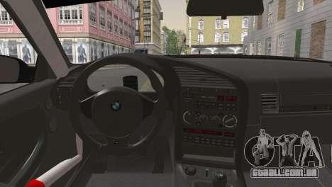 BMW M3 E36 Bridgestone v2 para GTA San Andreas traseira esquerda vista