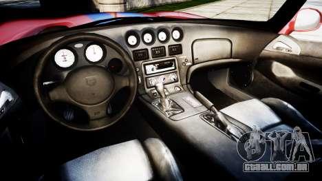 Dodge Viper RT-10 1992 para GTA 4 vista de volta