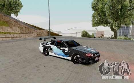 Nissan Skyline GT-R 34 Toyo Tires para GTA San Andreas vista direita