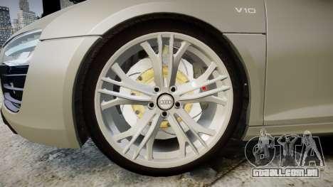 Audi R8 V10 Plus 2014 para GTA 4 vista de volta
