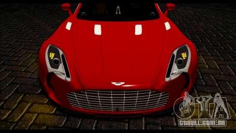 Aston Martin One-77 Black Beige para GTA San Andreas traseira esquerda vista