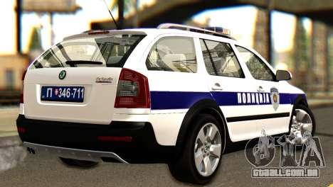 Skoda Octavia Scout Police para GTA San Andreas esquerda vista