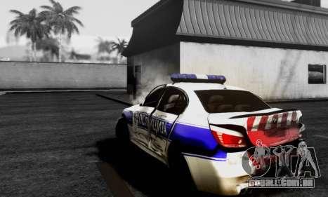 BMW M5 E60 POLICIJA para GTA San Andreas traseira esquerda vista