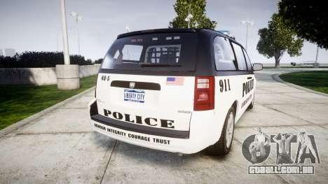 Dodge Grand Caravan LCPD [ELS] para GTA 4 traseira esquerda vista