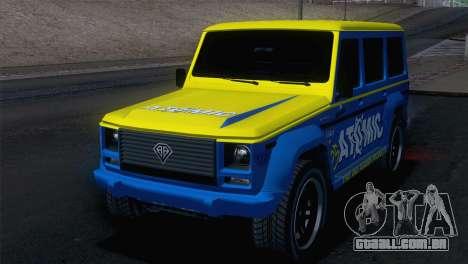 GTA 5 Benefactor Dubsta IVF para GTA San Andreas vista traseira