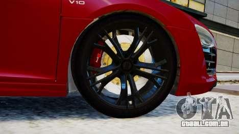 Audi R8 V10 Plus 2014 v1.0 para GTA 4 traseira esquerda vista