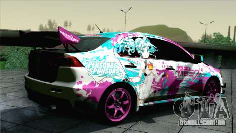 Mitsubishi Lancer Evolution X Racing Miku 2014 para GTA San Andreas esquerda vista