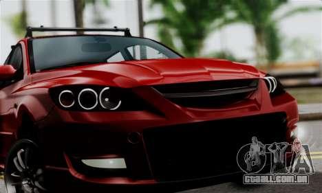 Mazda 3 MPS para GTA San Andreas traseira esquerda vista