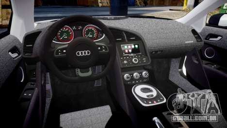 Audi R8 V10 Plus 2014 para GTA 4 vista interior