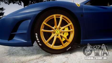 Ferrari F430 Scuderia 2007 plate Scuderia para GTA 4 vista de volta