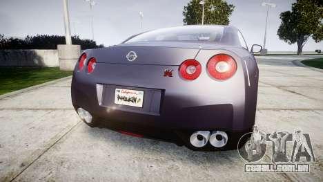 Nissan GT-R R35 2012 para GTA 4 traseira esquerda vista