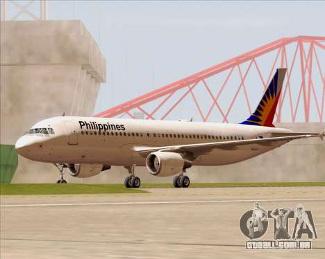 Airbus A320-200 Philippines Airlines para GTA San Andreas vista inferior