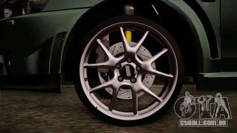 Mitsubishi Lancer Evolution FQ-400 para GTA San Andreas traseira esquerda vista