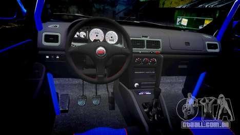 Subaru Impreza WRC 1998 v4.0 World Rally para GTA 4 vista de volta