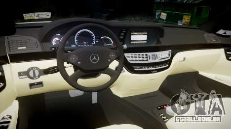Mercedes-Benz S65 W221 AMG v2.0 rims1 para GTA 4 vista interior