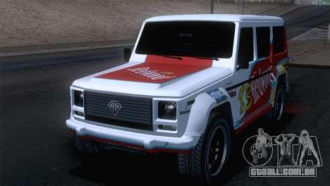 GTA 5 Benefactor Dubsta IVF para GTA San Andreas vista superior